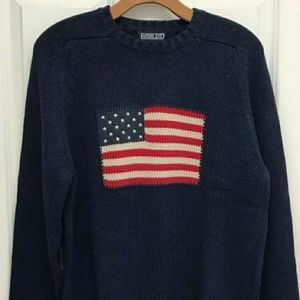 Lands End American Flag cotton sweater women's 2X